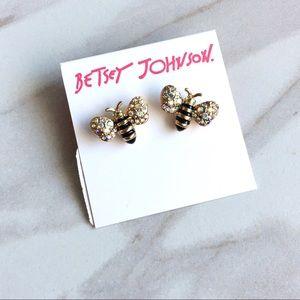 BETSEY JOHNSON Bumblebee Crystal Stud Earrings